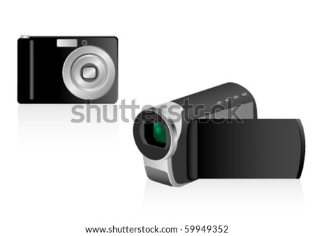 Illustration of a video camera and a photo camera - stock vector