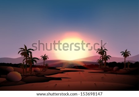 Illustration of a view of the desert during sunset - stock vector