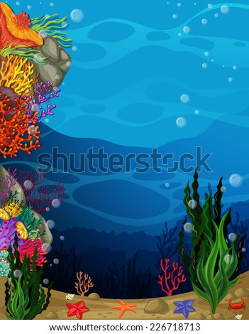 illustration of a view underwater - stock vector