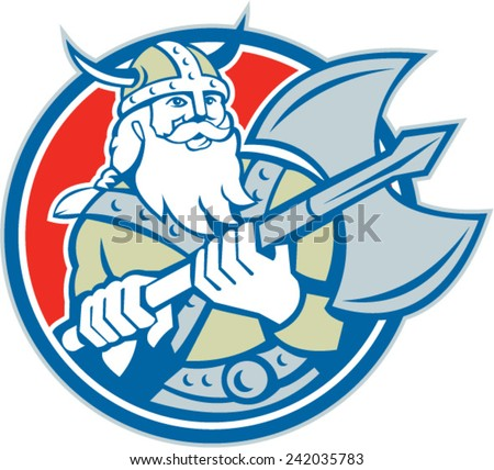 Illustration of a viking warrior raider barbarian with axe set inside circle on isolated background done in retro style. - stock vector