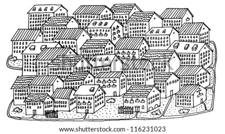 Illustration of a Village Hand Drawn - stock vector