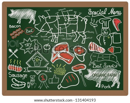 Illustration of a vintage graphic element food and menu collection on blackboard background vector - stock vector
