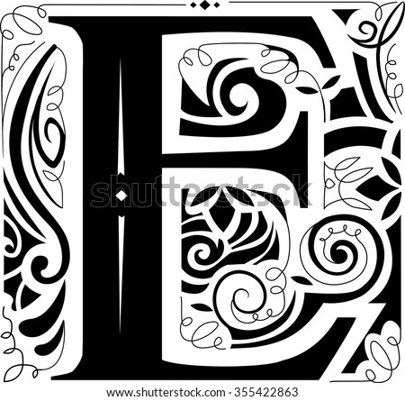 Illustration of a Vintage Monogram Featuring the Letter E - stock vector