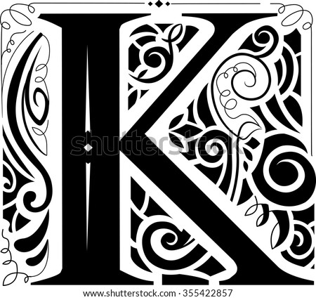 Illustration of a Vintage Monogram Featuring the Letter K - stock vector