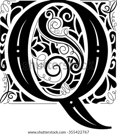 Illustration of a Vintage Monogram Featuring the Letter Q - stock vector