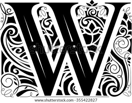 Illustration of a Vintage Monogram Featuring the Letter W - stock vector