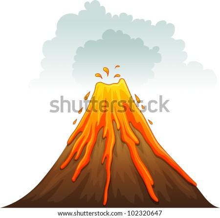 Illustration of a volcano erupting - stock vector