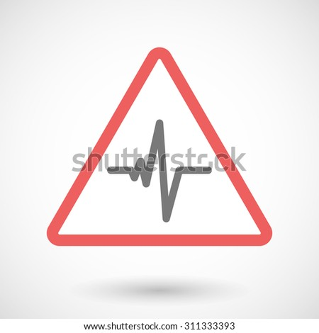 Illustration of a warning signal with a heart beat sign - stock vector