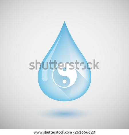 Illustration of a water drop with a yin yang sign - stock vector