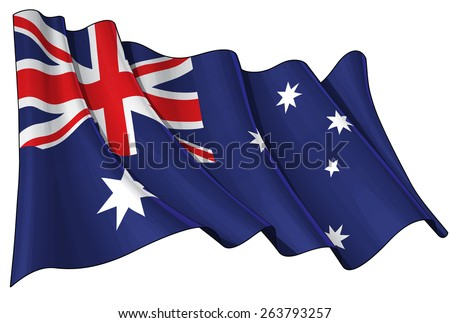 Illustration of a waving Australian flag against white background - stock vector