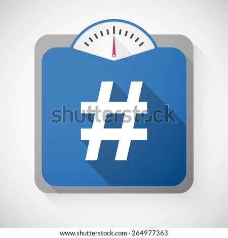 Illustration of a weight scale with a hash tag - stock vector