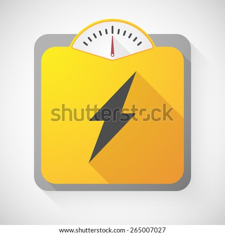 Illustration of a weight scale with a lightning - stock vector