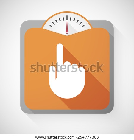Illustration of a weight scale with a pointing hand - stock vector