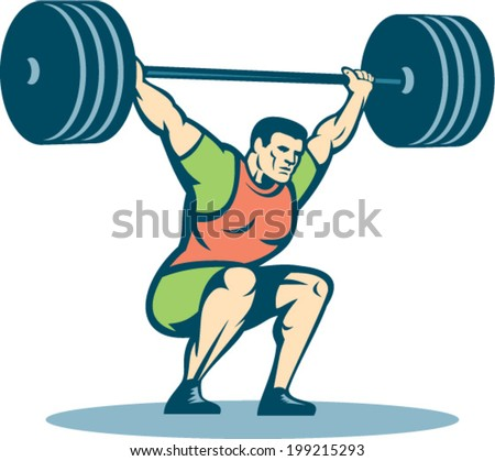 Illustration of a weightlifter lifting barbell over head on isolated white background done in retro style. - stock vector