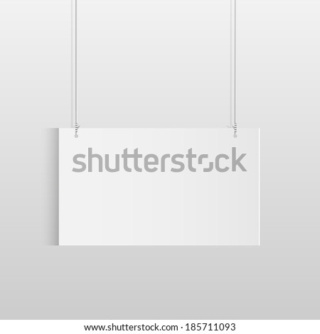 Illustration of a white hanging sign isolated on a light background. - stock vector