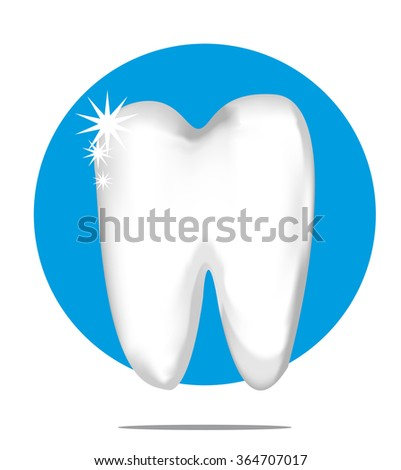 Illustration of a white tooth with blue circle background - stock vector