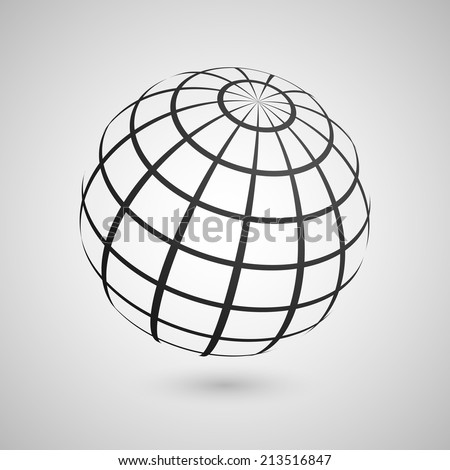 Illustration of a wire frame planet sphere, isolated on a gray background. Vector illustration, eps 10.  - stock vector