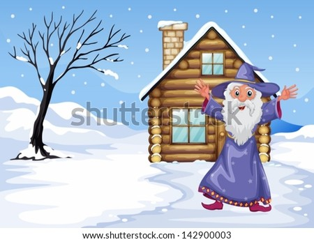 Illustration of a wizard outside the house on a snowy season - stock vector
