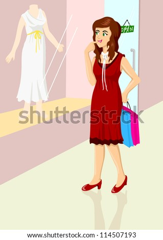 Illustration of a woman are window shopping - stock vector