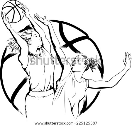 illustration of a woman basketball player grabbing a rebound with another woman defending her. - stock vector