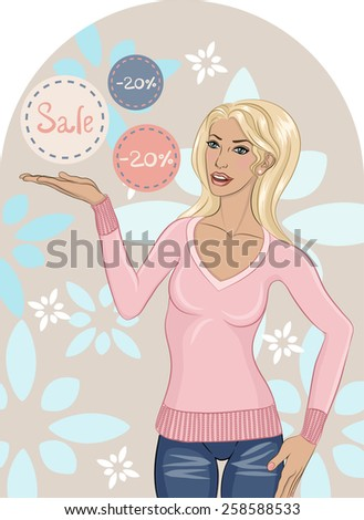 Illustration of a woman offering discounts. File is well structured.  - stock vector