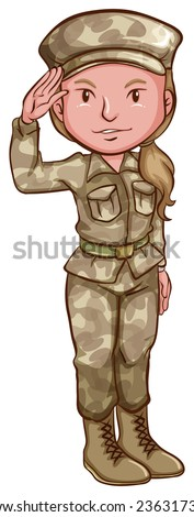 Illustration of a woman soldier in uniform - stock vector