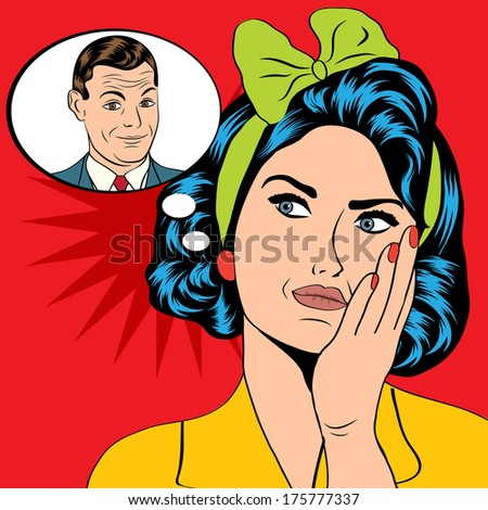illustration of a woman who thinks of a man in pop art style, vector format - stock vector