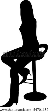 illustration of a women sit on the chair - stock vector