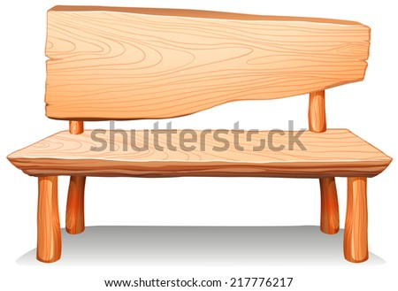 Illustration of a wooden bench on a white background  - stock vector
