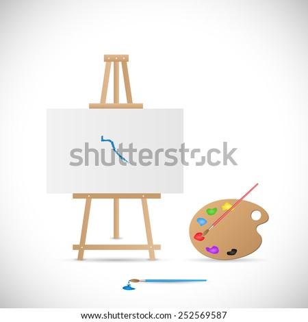 Illustration of a wooden easel, palette and paintbrushes isolated on a white background. - stock vector