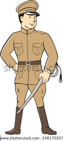 Illustration of a World War one British officer soldier serviceman standing facing front with sword on isolated white background  done in cartoon style. - stock vector