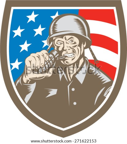 Illustration of a World War two American soldier serviceman biting grenade viewed from front inside shield crest with usa american stars and stripes flag the background done in retro woodcut style.  - stock vector