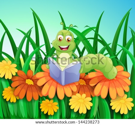 Illustration of a worm reading a book at the garden - stock vector