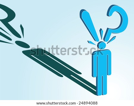 illustration of a worried and confused man - stock vector