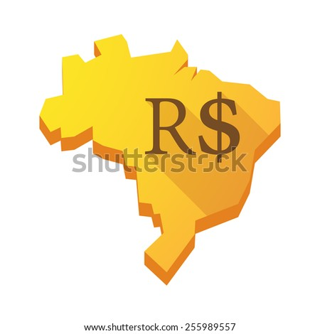 Illustration of a yellow Brazil map with a brazilian real sign - stock vector