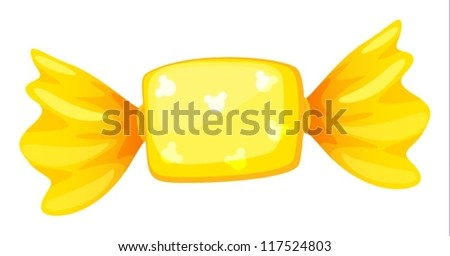 illustration of a yellow candy on white - stock vector