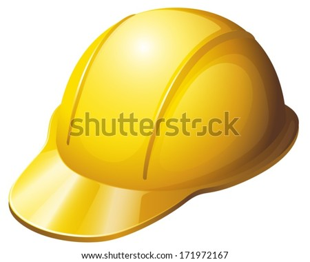 Illustration of a yellow safety helmet on a white background - stock vector
