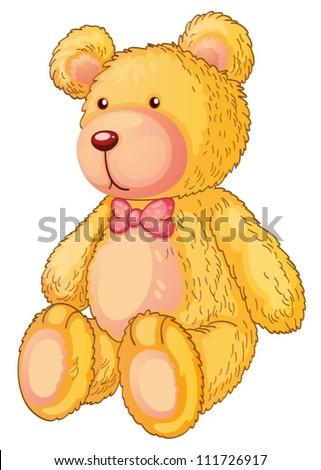 Illustration of a yellow teddy bear - stock vector