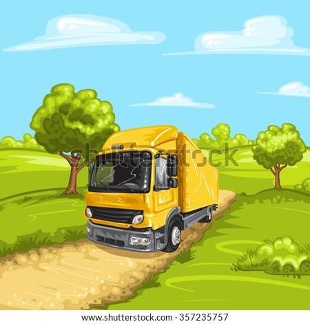 Illustration of a yellow truck with rural spring landscape - stock vector