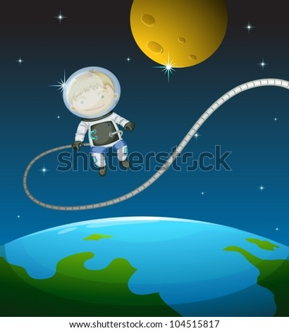Illustration of a young astronaut - stock vector
