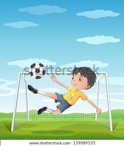 Illustration of a young athlete kicking the soccer ball - stock vector