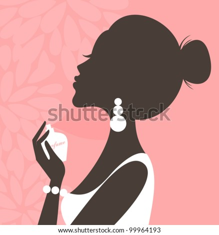 Illustration of a young beautiful woman applying perfume on her neck. - stock vector