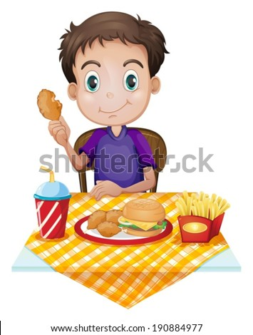 Illustration of a young boy eating in a fastfood restaurant on a white background - stock vector