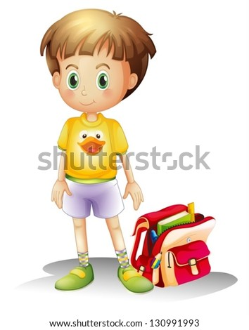 Illustration of a young boy with his school bag on a white background - stock vector