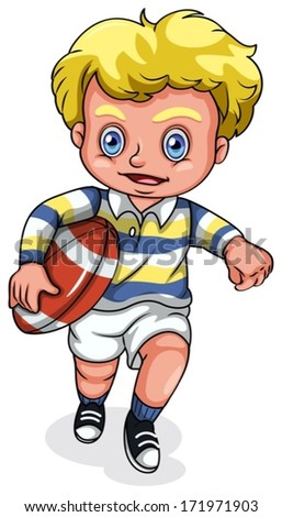 Illustration of a young Caucasian boy playing rugby football on a white background - stock vector