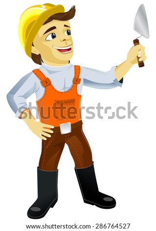Illustration of a young cute plasterer construction mason worker with trowel at work - stock vector