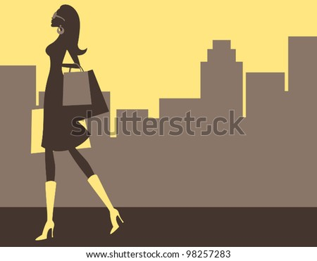 Illustration of a young elegant woman shopping in the big city. - stock vector