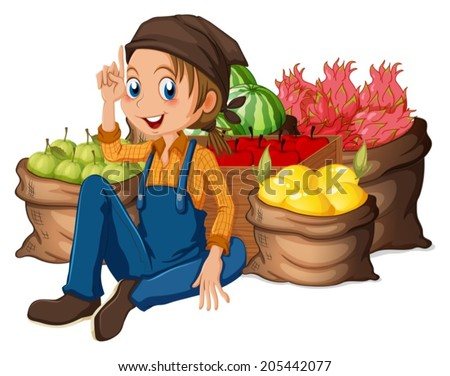 Illustration of a young farmer near his harvested fruits on a white background - stock vector