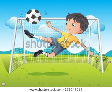 Illustration of a young gentleman kicking a soccer ball - stock vector