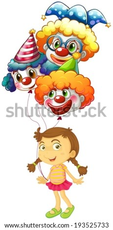 Illustration of a young girl holding three clown balloons on a white background - stock vector